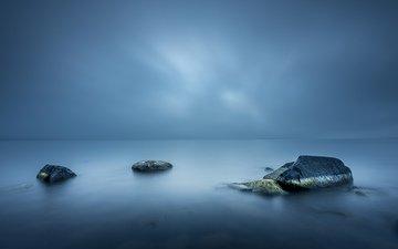 небо, вода, камни, море, горизонт, гладь