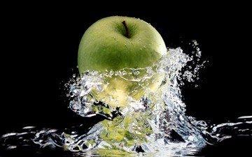 вода, капли, фрукты, брызги, черный фон, яблоко, брызки