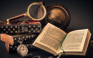 книги, путешествия, глобус, лупа, книга, стопка, страницы, чтение, увеличительное стекло, знания, obras, lord buron