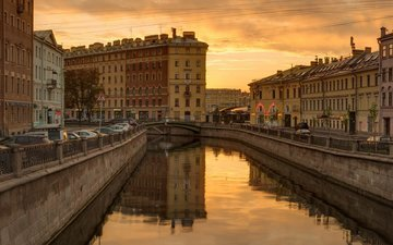 river, sunset, reflection, channel, russia, promenade, building, saint petersburg, city(353), road(255), the canal