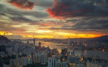 вечер, река, закат, горизонт, город, азия, китай, здания, гонконг
