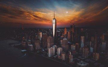 вечер, закат, город, небоскребы, сша, нью-йорк