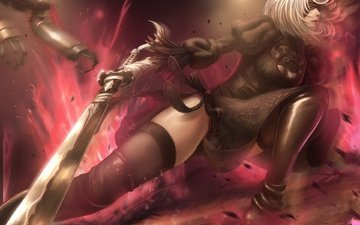 art, girl, sword, anime, the game, headband, rpg, action, nier automata, nier