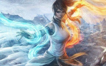 art, water, girl, fire, magic, element, 1, 3, the legend of korra