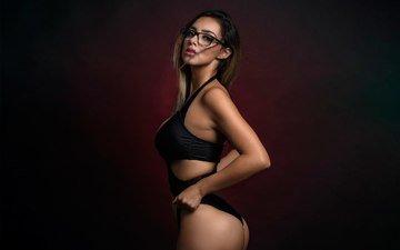 girl, background, brunette, look, glasses, figure, posing, ass, body
