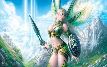 mountains, girl, rays, sword, wings, elf, armor, shield