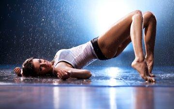вода, девушка, капли, танец, дождь, волосы, шорты, polly