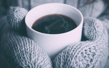 зима, девушка, напиток, кофе, руки, чашка, варежки