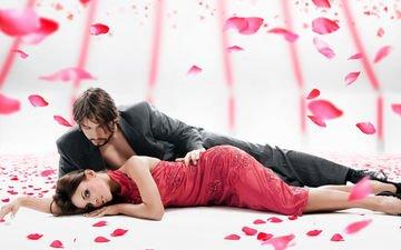 девушка, настроение, роза, лепестки, парень, любовь, пара