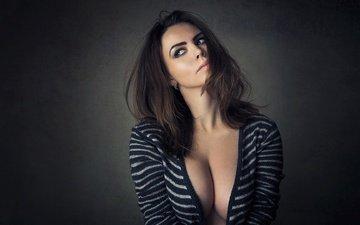 girl, background, portrait, brunette, look, model, chest, figure, blouse, ksenia, sean archer(