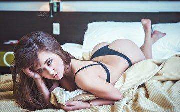 девушка, брюнетка, модель, кровать, фигура, постель, нижнее белье, anton harisov