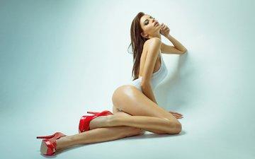 girl, background, pose, brunette, model, legs, figure, shoes, body, justyna gradek