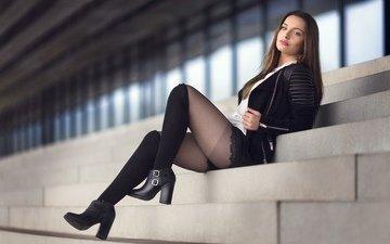 девушка, модель, ножки, чулки, ступени, сидя, juliette maletras
