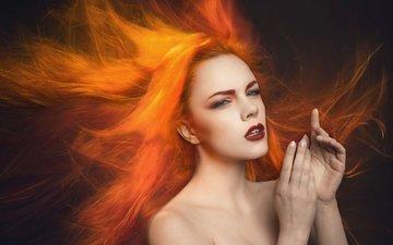 девушка, портрет, рыжая, модель, волосы, зара axeronias