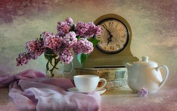 watch, bouquet, cup, tea, book, lilac, still life