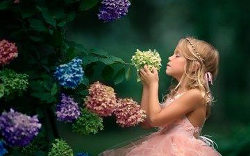 flowers, leaves, mood, dress, girl, profile, closed eyes, hydrangea