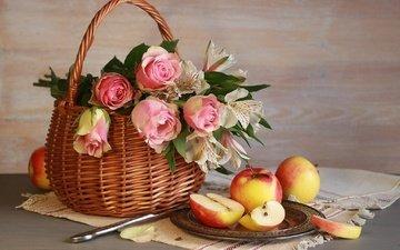 цветы, розы, фрукты, яблоки, корзина, нож, тарелка, альстромерия