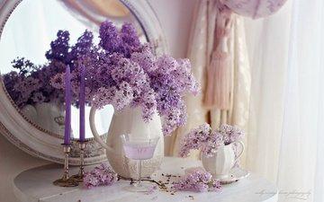 цветы, ветки, зеркало, комната, бокал, сирень, штора, столик, кувшины