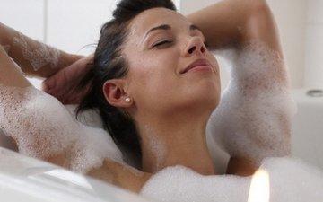 девушка, поза, волосы, ванна, наслаждение, блаженство