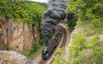 road, smoke, black, train, iron, locomotive, the engine