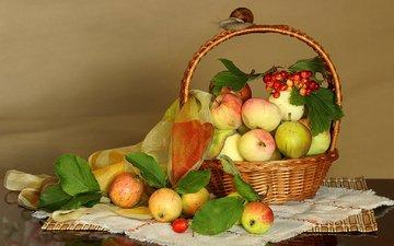 фрукты, яблоки, ткань, корзина, ягоды, платок