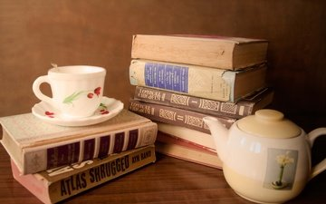 books, cup, tea, dishes, kettle