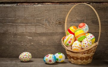 basket, easter, the painted eggs