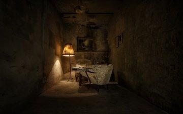 лампа, комната, кресло, гостиная, торшер, der hamlet