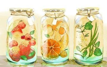 листья, клубника, апельсин, три, существа, крышки, птички, банки, бирка