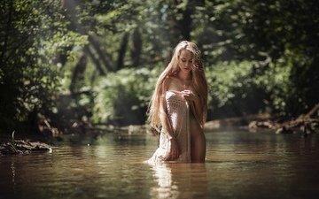 вода, природа, девушка, фото, платье, поза, блондинка, модель, позирует, попка, в белье, блонди, влажная