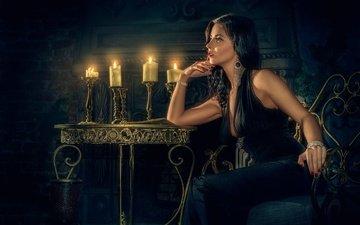 свечи, украшения, девушка, поза, камин, макияж, маникюр