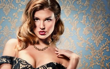decoration, girl, look, hair, makeup, hairstyle, necklace, neckline, earrings