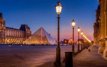 ночь, фонари, париж, пирамида, франция, лувр