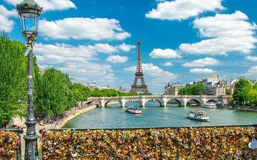 река, мост, париж, франция, эйфелева башня, сена