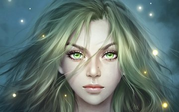 art, girl, look, fantasy, hair, face