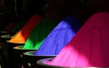 цвета, разноцветные, краски, праздник, холли, индия, порошок