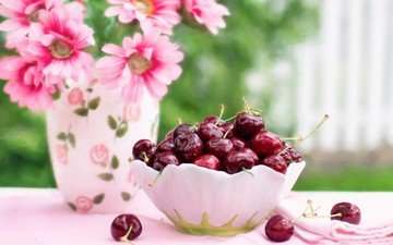 цветы, черешня, ягоды, вишня, ваза, салфетка, миска
