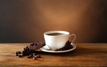 напиток, кофе, чашка, шоколад, кофейные зерна, анис