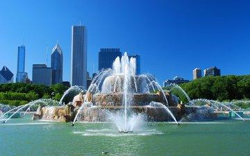 the city, fountain, usa, chicago