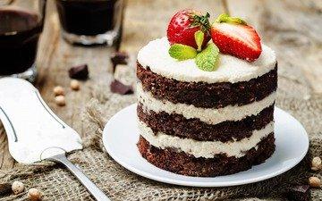 клубника, ягоды, шоколад, сладкое, торт, десерт, пирожное, тортик, крем
