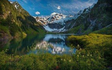 трава, вечер, озеро, горы, снег, природа, отражения, лето