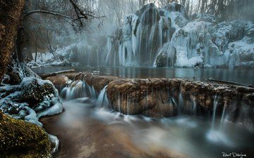 река, скалы, природа, лес, водопад, иней, сосульки, заморозки