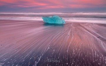 свет, природа, пейзаж, море, пляж, лёд, исландия