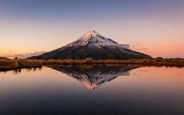 небо, облака, озеро, природа, отражение, пейзаж, гора, вулкан, новая зеландия