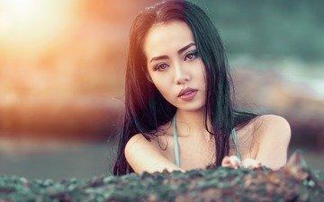 девушка, фон, портрет, брюнетка, взгляд, модель, волосы, лицо, азиатка