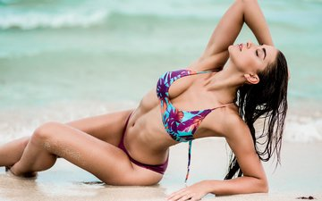 море, песок, лето, модель, волосы, лицо, фигура, купальник, красотка, dani