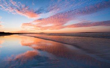 природа, закат, пейзаж, пляж, австралия, штат квинсленд, нооза