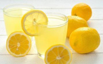 напиток, фрукты, стаканы, лимоны, цитрусы, сок, лимонад