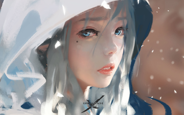 art, girl, look, hair, hood, wlop, ghostblade