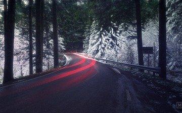 свет, дорога, снег, природа, лес, зима, выдержка